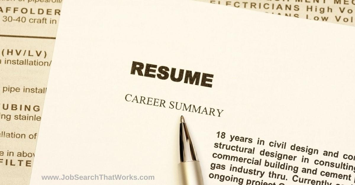 Resume or CV with Career Summary
